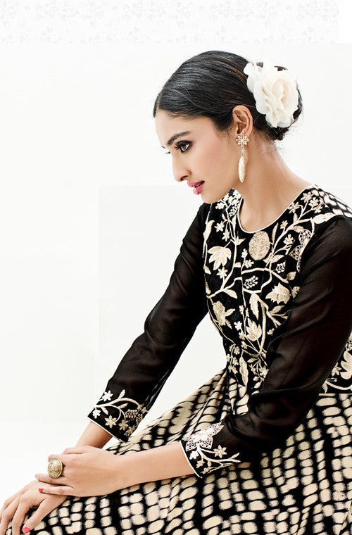 Black & White Designer Embroidered Rayon & Silk Indo-Western Dress