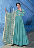 Blue Designer Embroidered Muslin Floor Length Anarkali Suit-Saira's Boutique