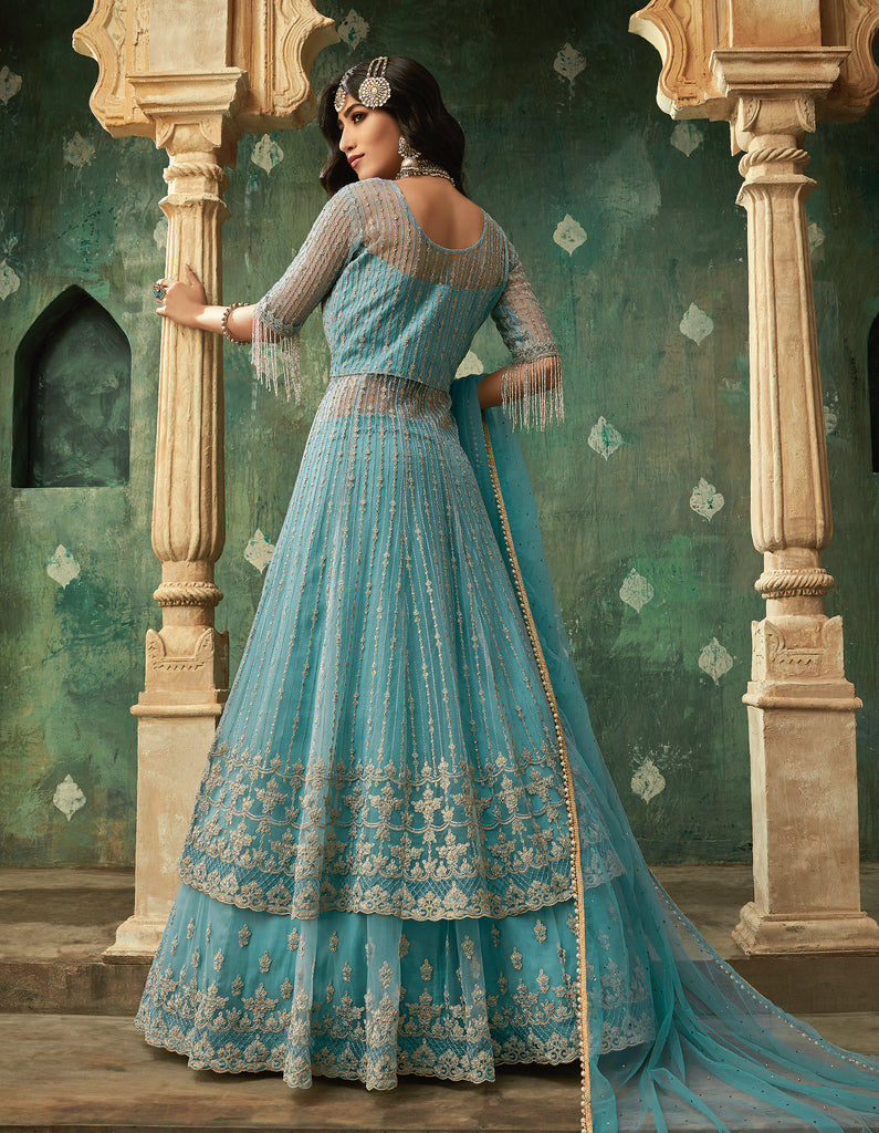 Blue Designer Embroidered Net Lehenga Style Anarkali Suit-Saira's Boutique