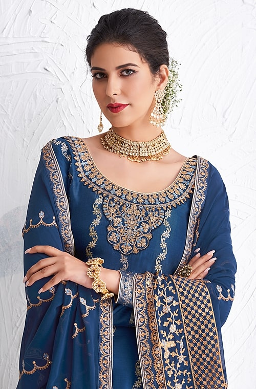 Blue Designer Embroidered Silk Party Wear Palazzo Suit-Saira's Boutique