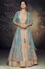 Blue & Beige Designer Embroidered Jacket Style Anarkali Gown-Saira's Boutique