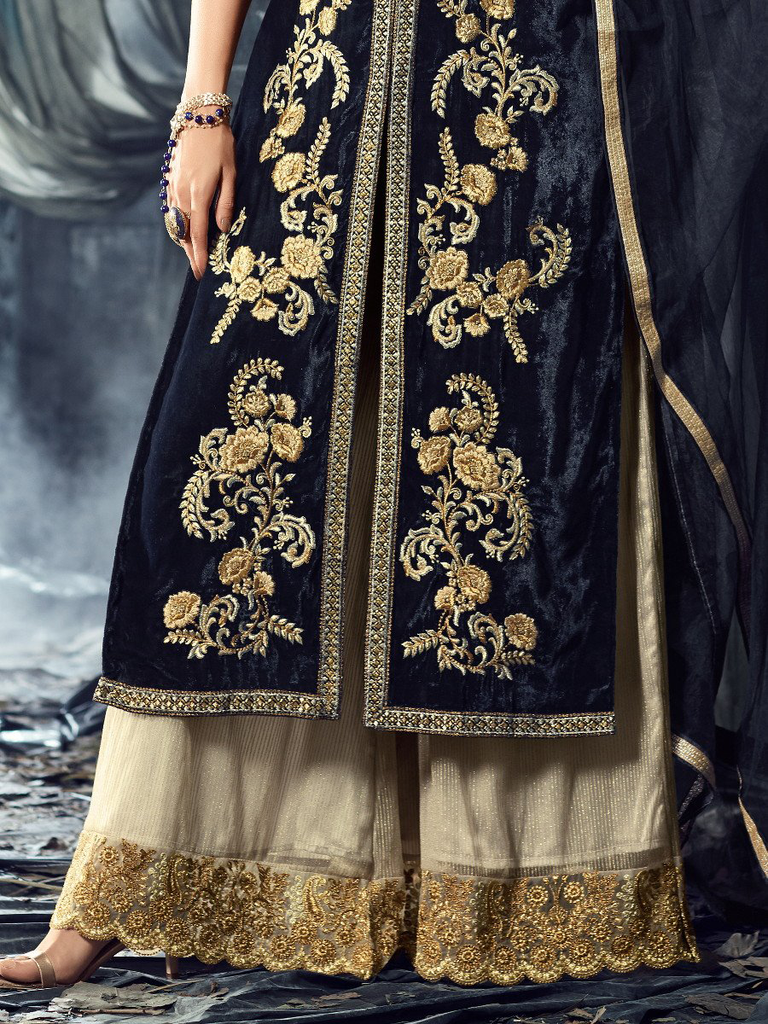 Navy Blue & Light Beige Designer Embroidered Velvet Straight Palazzo Suit-Saira's Boutique