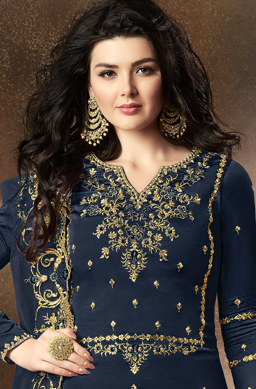Blue Designer Embroidered Art Silk Sharara Suit-Saira's Boutique