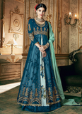 Blue Designer Embroidered Layered Georgette Anarkali Suit-Saira's Boutique