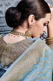 Blue Designer Embroidered Pure Banarasi Silk Wedding Lehenga Choli-Saira's Boutique