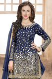 Blue Designer Embroidered Silk Party Wear Patiala Suit