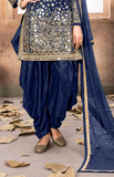 Blue Designer Embroidered Silk Party Wear Patiala Suit-Saira's Boutique