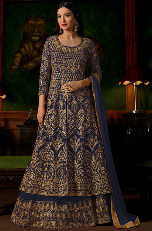 Blue Designer Heavy Embroidered Georgette Wedding Anarkali Lehenga-Saira's Boutique