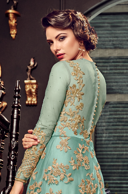 Blue Designer Heavy Embroidered Net Bridal Anarkali Gown-Saira's Boutique