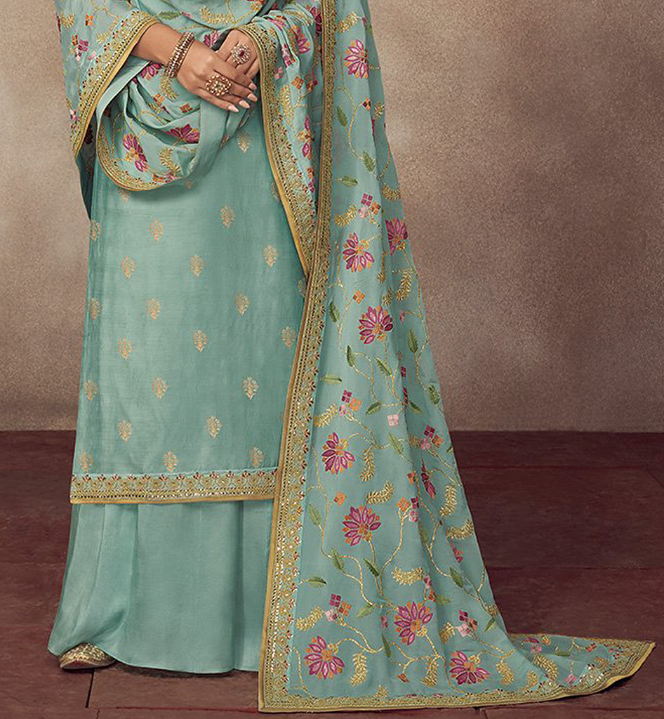 Blue Designer Heavy Embroidered Silk Jacquard Sharara Suit-Saira's Boutique