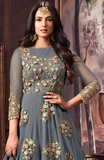 Blue Gray Designer Embroidered Net Anarkali Suit-Saira's Boutique