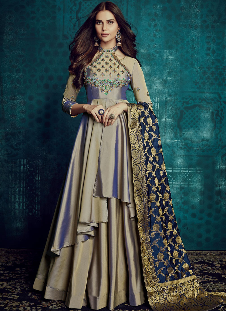 Blue & Gray Designer Embroidered Readymade Taffeta Silk Anarkali Suit-Saira's Boutique