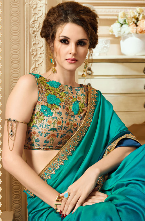 Blue Green & Beige Designer Embroidered Silk Crepe Party Wear Saree