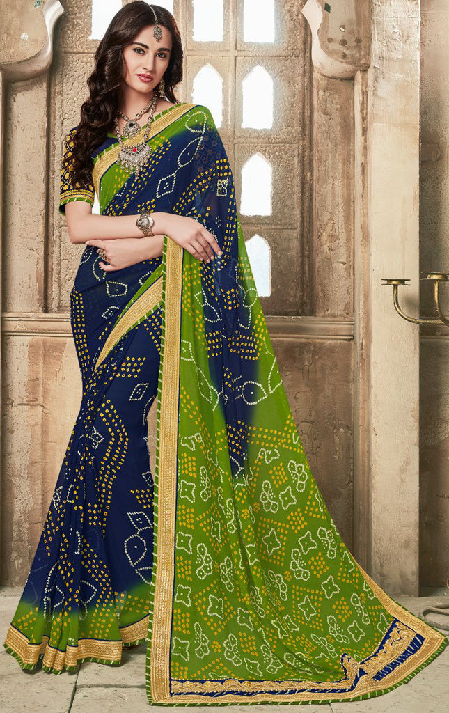 Blue & Green Designer Embroidered Bandhani Party Wear Saree-Saira's Boutique