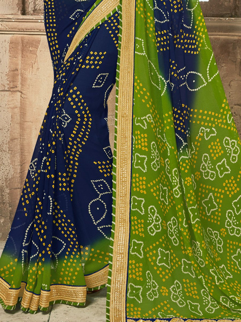 Blue & Green Designer Embroidered Bandhani Party Wear Saree