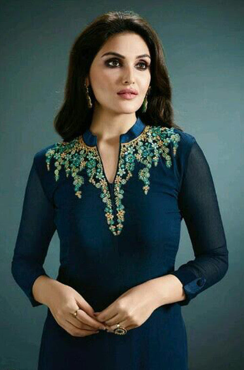 Blue Green Designer Embroidered Georgette Kurti