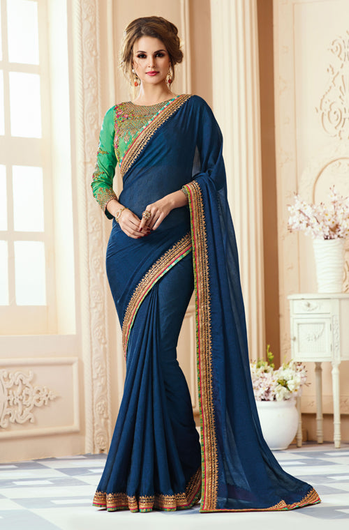 Blue & Green Designer Embroidered Georgette Party Wear Saree