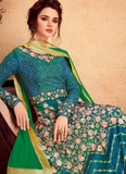 Blue & Green Designer Embroidered Silk Party Wear Wedding Anarkali Suit-Saira's Boutique