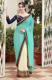 Blue & Off White Designer Embroidered Fancy Party Wear Saree-Saira's Boutique