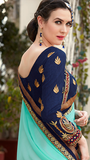 Blue & Off White Designer Embroidered Fancy Party Wear Saree