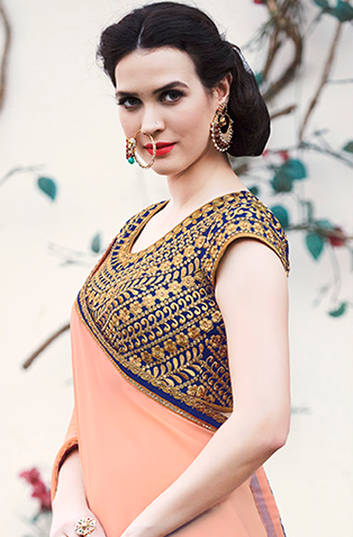 Blue & Pale Apricot Designer Embroidered Fancy Party Wear Saree