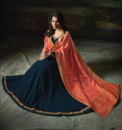 Blue & Peach Orange Designer Embroidered Georgette Anarkali Suit-Saira's Boutique