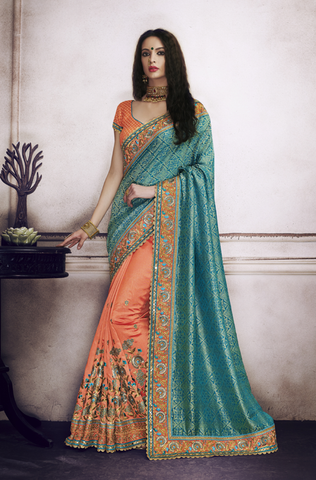 Light Olive Green Designer Floral Print Georgette Saree