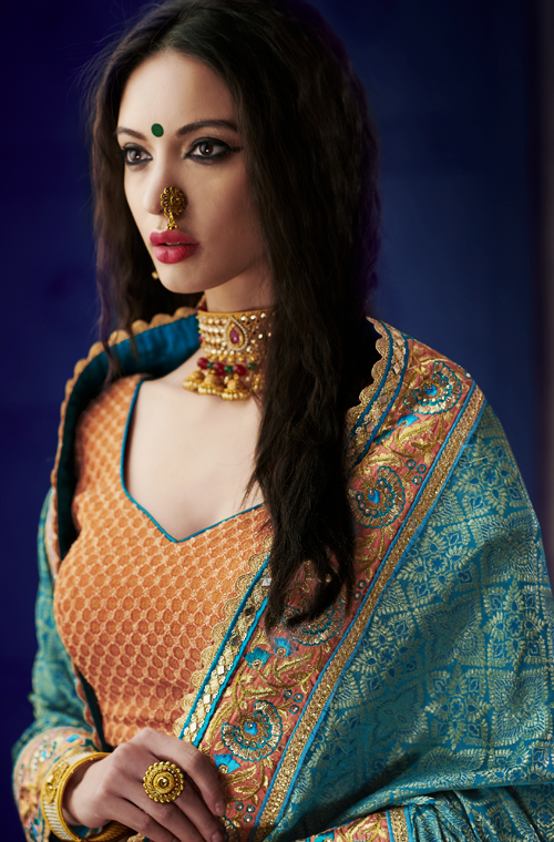 Blue & Peach Orange Designer Heavy Embroidered Silk Wedding Saree-Saira's Boutique