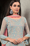 Blue & Pink Designer Heavy Embroidered Georgette Wedding Palazzo Suit-Saira's Boutique