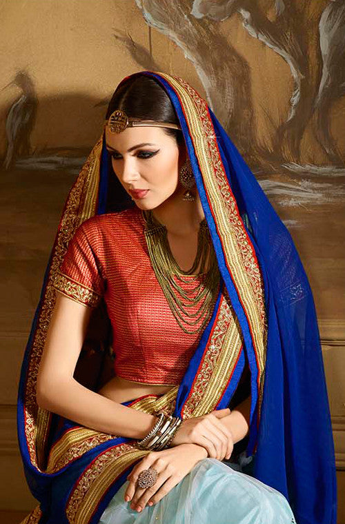 Blue Designer Embroidered Party Wear Saree