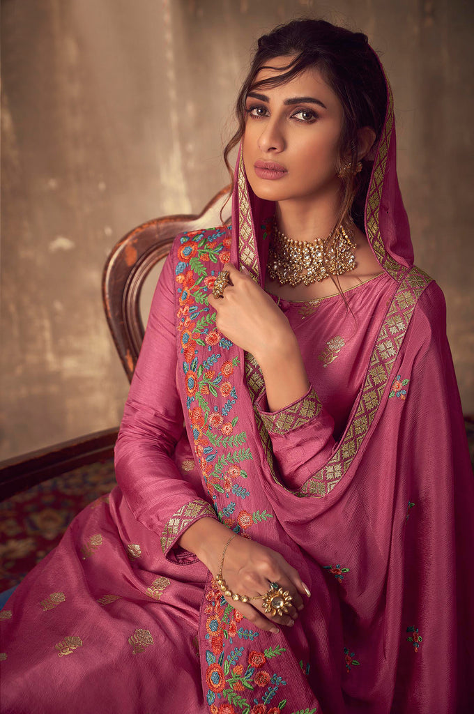 Blush Pink Designer Embroidered Party Wear Palazzo Suit-Saira's Boutique