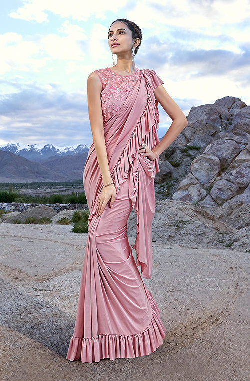 Blush Pink Designer Embroidered Fancy Party Wear Frill Saree-Saira's Boutique