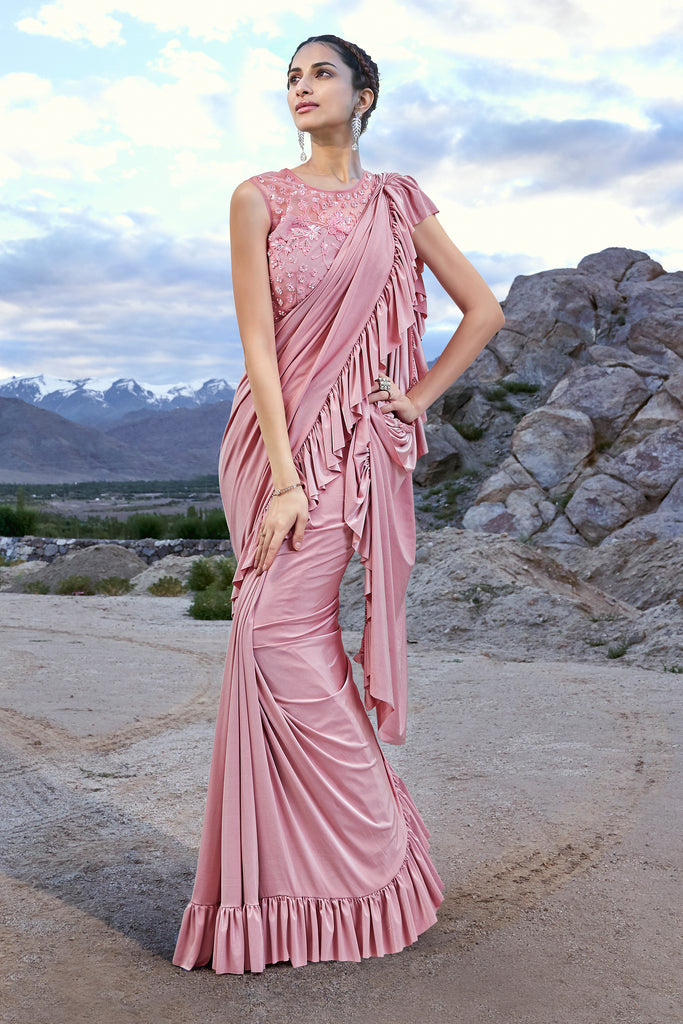 Blush Pink Designer Embroidered Fancy Party Wear Frill Saree Saira S Boutique