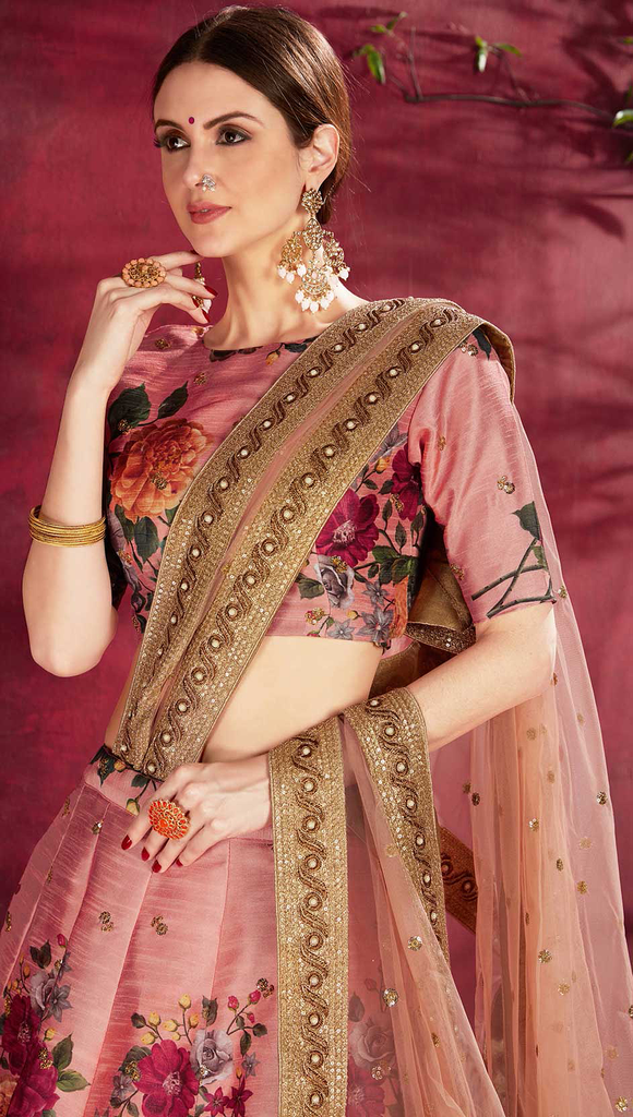Blush Pink Designer Embroidered Silk Floral Print Lehenga Choli-Saira's Boutique