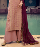 Blush Pink Designer Embroidered Silk Jacquard Party Wear Palazzo Suit-Saira's Boutique