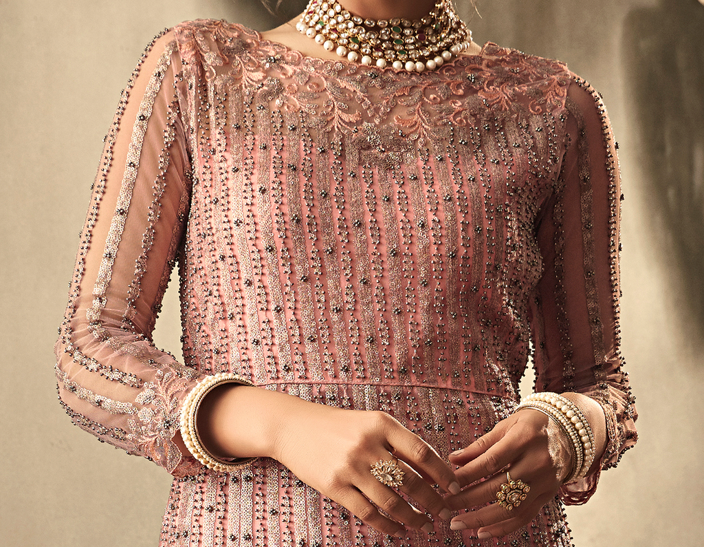 Blush Pink Designer Heavy Embroidered Net Wedding Anarkali Gown-Saira's Boutique