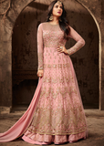 Blush Pink Designer Heavy Embroidered Net Wedding Anarkali Suit-Saira's Boutique