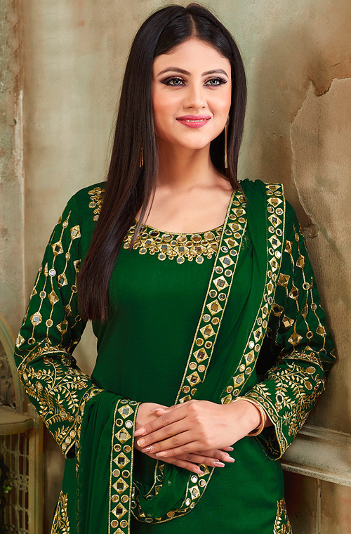 Bottle Green Designer Embroidered Art Silk Party Wear Patiala Suit-Saira's Boutique