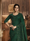 Bottle Green Designer Embroidered Satin Silk Fancy Party Wear Saree-Saira's Boutique