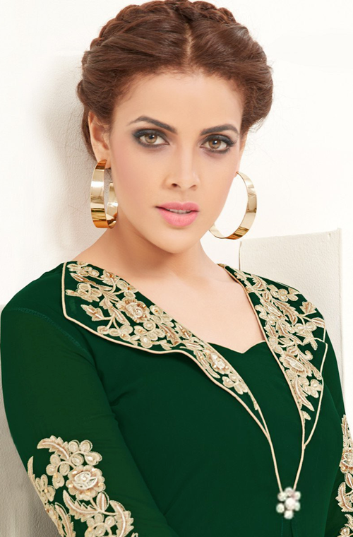 Bottle Green Designer Embroidered Georgette Indo-Western Kurti
