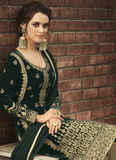 Bottle Green Designer Heavy Embroidered Velvet Pant Suit