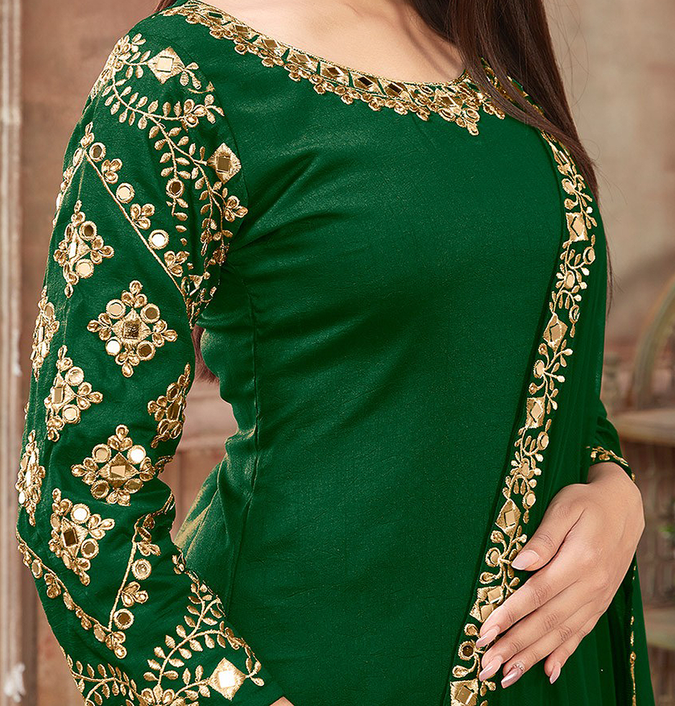Bottle Green & Gold Designer Embroidered Art Silk Patiala Suit-Saira's Boutique