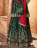 Bottle Green & Red Designer Heavy Embroidered Georgette Sharara Suit-Saira's Boutique