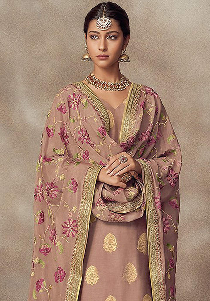 Brandy Rose Designer Heavy Embroidered Silk Jacquard Sharara Suit-Saira's Boutique