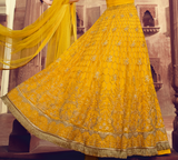 Bright Yellow Designer Embroidered Lehenga Style Net Anarkali Suit-Saira's Boutique