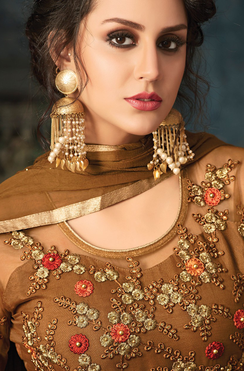 Brown Designer Embroidered Net Wedding Anarkali Suit-Saira's Boutique