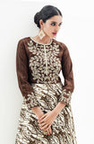 Brown Designer Embroidered Satin & Silk Indo-Western Dress