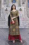 Brown & Maroon Designer Jacquard Satin Party Wear Long Kurti-Saira's Boutique