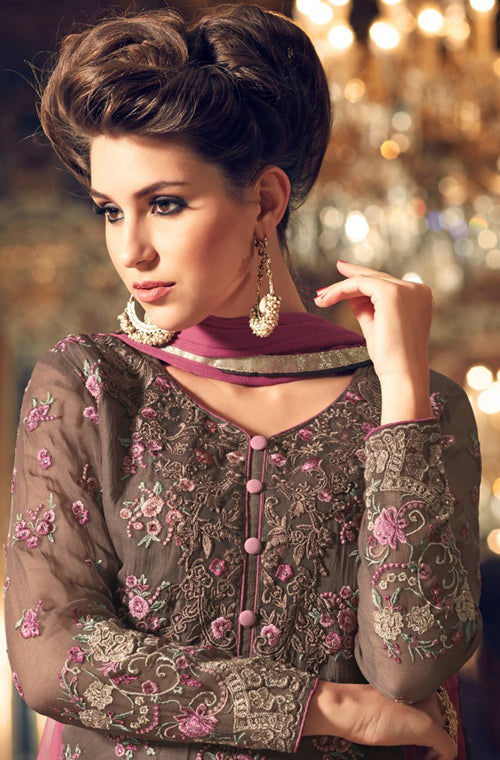 Brown & Rouge Georgette Designer Embroidered Pant Suit-Saira's Boutique