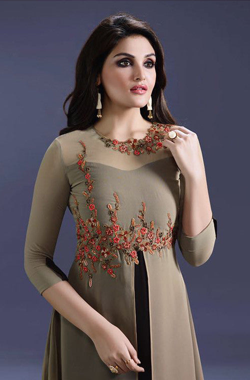 Brown & Black Designer Embroidered Georgette Kurti